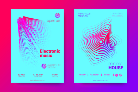 The Posters of a Music Party. Bright Abstract Backgrounds with Distorted Circles and Stripes. Wave Poster with Vector Colorful Equalizer. Effect 3d and Gradient. Modern Poster of Electronic Music Fest