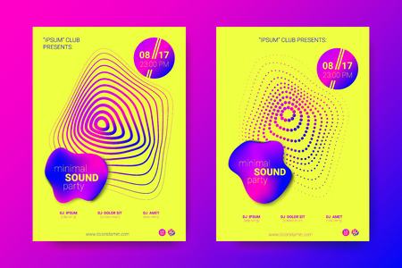 Music Abstract Colorful Poster. Bright Sound Flyer with Distortion of Circles. Trendy Abstract Covers of Electronic Music Event. Modern Vibrant Gradient and Wave Lines. Abstract Vector Illustration. Illustration