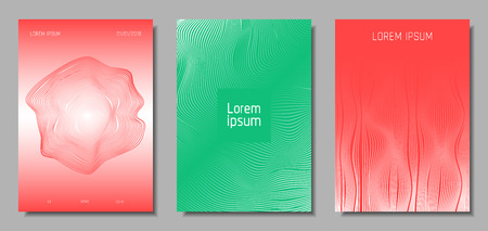 Wave Lines. Abstract Covers with Movement and Distortion Effect. Flow Striped Backgrounds. Geometric Templates Set in Pastel Color Design. EPS10 Vector. 3D Wave Abstraction for Brochure, Music Poster.