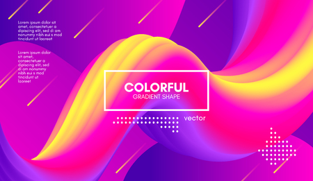 Wave Flow Shape. Abstract 3d Background. Modern Colorful Liquid. Vector Illustration Eps10. Trendy Abstract Fluid Design for Music Poster, Brochure, Layout. Abstract Wave Cover with Vibrant Gradient. Illustration