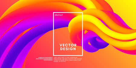 Colorful Liquid Shapes. Vector 3d Poster. Modern Color Wave Liquid. Abstract Background with Vibrant Gradient for Flyer, Banner, Cover, Business Presentation. Bright Wave Poster with Fluid Liquid. Illustration