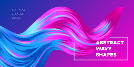 3d Abstract Background. Colorful Wave Shapes. Trendy Vector Illustration EPS10 for Your Creative Design. Beautiful Fluid Interweaving. 3d Poster with Abstract Bright Liquid for Business Presentation.