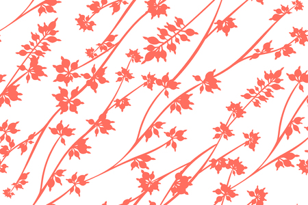 Autumn Seamless Pattern with Eucalyptus Leaves. Foliage Natural Branches. Decorative Background in Vintage Style. Seamless Eucalyptus Pattern for Fabric, Textile, Wrapping Paper, Cloth, Dress, Print.