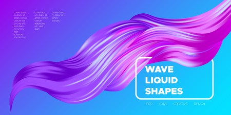 Colorful Wave Shapes. 3d Abstract Background. Trendy Vector Illustration EPS10 for Your Creative Art Design. Fluid Interweaving. Flow Poster with Abstract Bright Liquid Shapes in Futuristic Style. Illustration