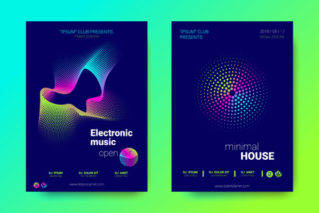 Modern Music Abstract Backgrounds. Bright Sound Flyer with Distorted Stripes. Posters with Abstract Colorful Lines and Gradient. Wave Covers for Electronic Music Event. Abstract Vector Illustration. Illustration