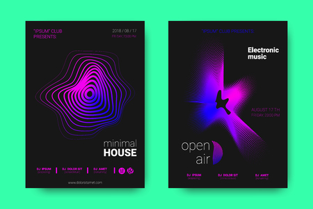 Poster of Electronic Music Night Party. Abstract Vector Background. Colorful Wave Lines and Equalizer. Minimal Party Flyer Design. Distortion of Rounds. Modern Music Covers of House Music Party. Vektorové ilustrace