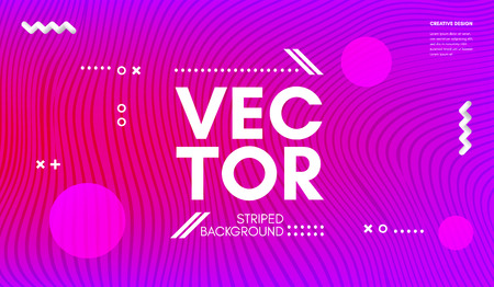 Abstract Wave Poster with Distortion of Colorful Stripes. Minimal Geometric Background. Vector Flow Design. Wave Music Poster. Business Design. Trendy Bright Cover with Movement and Distortion Effect.