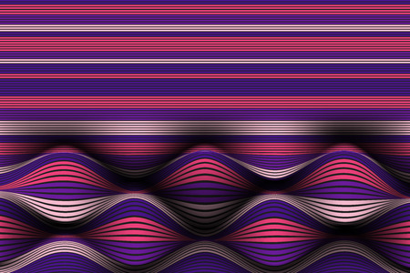 Wavy Lines with Gradient. Trendy Abstract Background with a Distorted Striped Surface. Futuristic Template with Effect of Volume and Movement. Flow. Wavy 3D Abstraction with Distorted Vector Stripes.
