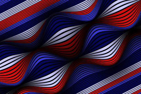 Fondo abstracto de moda. Papel tapiz vectorial con efecto de volumen y movimiento. Superficie colorida distorsionada. Líneas onduladas y malla de degradado. Ilustración 3D futurista con distorsión de líneas. Fluir. Ilustración de vector