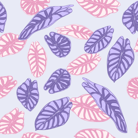 Seamless Jungle Pattern in Purple Color Design. Vector Tropic Leaves in Watercolor Style. Background with Stylized Plants Alocasia. Exotic Foliage. Seamless Tropical Pattern for Cloth Design, Fabric.