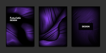 Distortion of Stripes. Abstract Backgrounds with Vibrant Gradient and Wave Lines. Ultraviolet Cover Templates Set with Volume and Metallic Effect. Distorted Shapes for Business Presentation, Brochure. Vetores