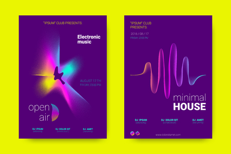 Music Wave Poster. Party Flyer in Modern Style. Abstract Music Background with Distortion of Lines, Rounds. Sound Fest in Night Club. Vector Illustration. Electronic Music Cover with Gradient Stripes.