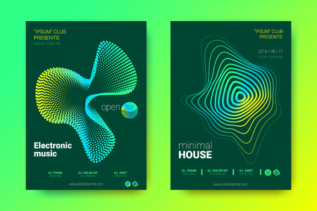 Sound Wave Poster of Electronic Music Event. Abstract Background with Gradient Circle and Lines. Distortion of Colorful Wave Stripes. Flyer in Bright Modern Style. Vector Cover with Wave Equalizer. Vector Illustratie