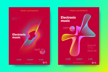 Flyer of Electronic Music Night Party. Abstract Vector Background. Colorful Wave Lines and Equalizer. Minimal Music Fest Flyer Design. Distortion of Rounds. Trendy Bright Flyers of House Music Event.