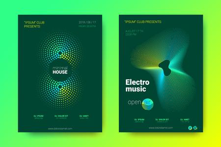Affiche d'onde sonore de l'événement de musique électronique. Abstrait avec cercle dégradé et lignes. Distorsion des bandes de vagues colorées. Flyer dans un style moderne et lumineux. Couverture de vecteur avec égaliseur d'onde.