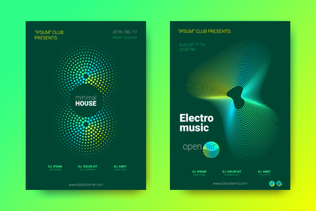 Sound Wave Poster of Electronic Music Event. Abstract Background with Gradient Circle and Lines. Distortion of Colorful Wave Stripes. Flyer in Bright Modern Style. Vector Cover with Wave Equalizer. Archivio Fotografico - 109899716