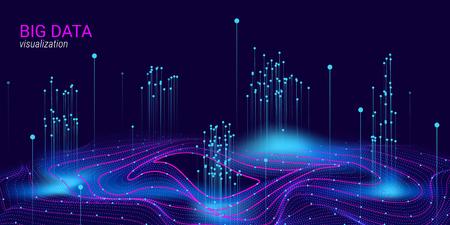 Wizualizacja wektorowa Big Data. 3D futurystyczny kosmiczny projekt. Tło technologii. Prezentacja wizualna dotycząca analizy Big Data. Glow Fractal Element w futurystycznym stylu. Wizualizacja danych cyfrowych