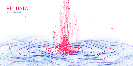 Abstract Big Data Analysis Visualization. Wave Circle with Motion of Dots and Distortion. 3d Futuristic Background for Science Slide. Visual Information. Technology Concept of Big Data Visualization.