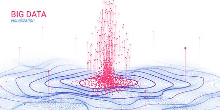 Abstrakte Visualisierung der Big Data-Analyse. Wellenkreis mit Bewegung von Punkten und Verzerrung. 3D-futuristischer Hintergrund für Wissenschafts-Folie. Visuelle Informationen. Technologiekonzept der Big Data-Visualisierung.