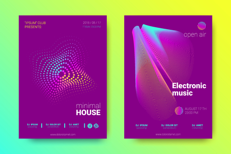 Electronic Music Party Poster with Colorful Equalizer. Abstract Wave Lines and Distortion of Circles. Gradient Equalizer Design. Vector Background for Night Sound Event. Modern Music Glowing Equalizer Vector Illustratie