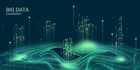 Visualizzazione vettoriale di Big Data. 3d futuristico design cosmico. Sfondo di tecnologia. Presentazione visiva sull'analisi dei Big Data. Elemento frattale bagliore in stile futuristico. Visualizzazione dei dati digitali