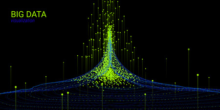 Fractal 3d Visualization. Digital Big Data Sorting. Cosmic Wave Illustration with Distortion and Movement. Vector Fractal Element. Analysis of Big Data Flow. Technology Background with Fractal System.