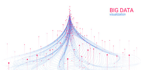 Abstract Big Data Analysis Visualization. Wave Circle with Motion of Dots and Distortion. 3d Futuristic Background for Science Slide. Visual Information. Technology Concept of Big Data Visualization. Stock fotó - 109789496