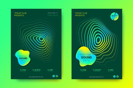 Cartel de ondas sonoras del evento de música electrónica. Fondo abstracto con círculo degradado y líneas. Distorsión de rayas onduladas de colores. Folleto en estilo moderno brillante. Cubierta de vector con ecualizador de onda.