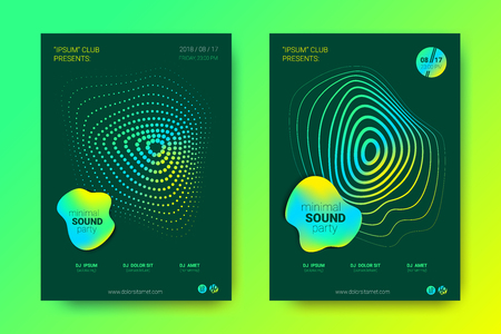 Sound Wave Poster of Electronic Music Event. Abstract Background with Gradient Circle and Lines. Distortion of Colorful Wave Stripes. Flyer in Bright Modern Style. Vector Cover with Wave Equalizer.