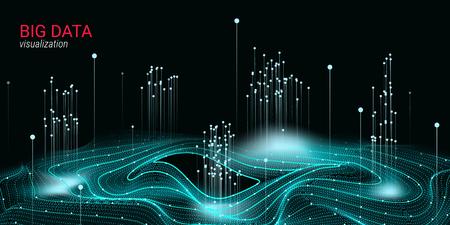 Visualizzazione di Big Data astratta. Wave Glow Circle con movimento di punti. Sfondo futuristico 3D per diapositiva di scienza o informazioni visive. Luce cosmica. Concetto di tecnologia di visualizzazione di Big Data. Vettoriali