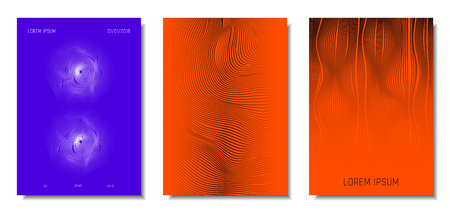 Wave Lines. Abstract Covers with Movement and Distortion Effect. Flowing Striped Background. Trendy Geometric Templates Set . EPS10 Vector Design. 3D Distorted Lines for Brochure, Music Sound Poster. Ilustração