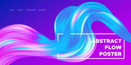 Paint Design. Wave Liquid Shape. Colorful Flow Poster. Trendy Illustration EPS10 Vector. Creative Interweaving. Abstract Background with Flow Effect in Paint Style for Business Poster, Banner, Cover. Illustration