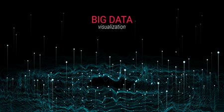 Visualizzazione di Big Data astratta. Wave Glow Circle con movimento di punti. Sfondo futuristico 3D per diapositiva di scienza o informazioni visive. Luce cosmica. Concetto di tecnologia di visualizzazione di Big Data.