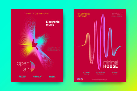 Electronic Music Night Party pamphlet. Abstract Vector Background. Colorful Wave Lines and Equalizer. Minimal Music Fest pamphlet Design. Distortion of Rounds. Trendy Bright Flyers of House Music Event.