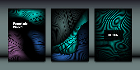 Flowing Wavy Lines in Movement. Abstract Backgrounds with Vibrant Gradient and Metallic Effect in Futuristic Style. 3D Vector Abstraction with Distortion of Shapes. Wavy Lines for Cover, Brochure.