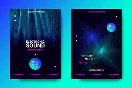 Abstract Sound Poster with Wave Amplitude and Distorted Rounds. Music Flyer Wave Concept. Vector Sound Equalizer Design for Banner. Abstract Covers for Dance Event. Dj Festival of Electronic Sound.