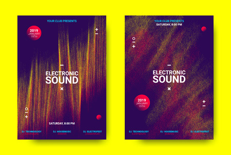 Electronic Festival Music Poster. Party Sound Flyer with Dotted Lines and Round with Movement Effect. Abstract 3d Wave Amplitude. Distorted Music Equalizer. Cover Design Concept of Electronic Music. Illustration