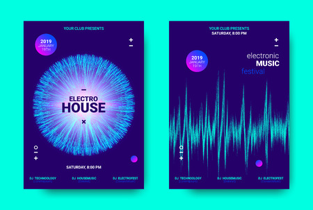 Electronic Music Movement Concept. Wave Poster for Dance Night Party. Sound Amplitude of Distorted Wave Lines. Vector Equalizer Movement Design. 3d Graphic Round with Glow and Movement of Dots Effect.