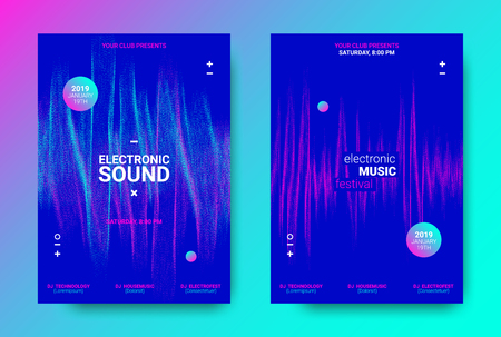 Electronic Music Flyer Concept. House Music Festival Promotion. Vector Equalizer Design. Abstract Wave Flyer for Dj Sound. Amplitude of Distorted Dotted Wave Lines. Color Flyer with Movement of Waves.
