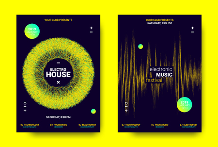 Electronic Sound Poster. Techno Music Festival Promotion. Vector Wave Amplitude Design. Wave Poster Concept with Movement. Equalizer of Distorted Lines. Abstract Sound Poster for Dj Performance. Illustration