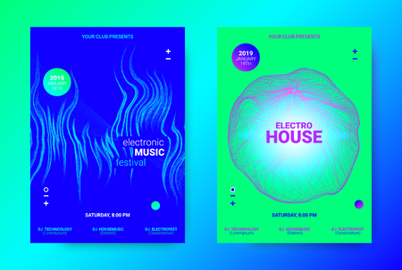 Dj Party Poster. Wave Music Banner for Dance Event. Minimal Electronic Music Flyer. Vector Equalizer with Amplitude of Lines. Promotion of Techno Sound Dj. Brochure for Announcement of Dj Performance