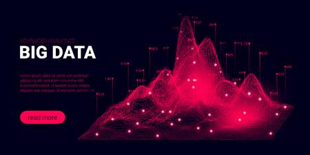 Page de destination, visualisation de l'analyse des mégadonnées. Informatique quantique, concept d'intelligence artificielle. Page de destination futuriste avec présentation de l'innovation scientifique. Modèle de page de cryptographie de signal.