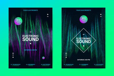 Manifesto di musica techno. Volantino Wave per la promozione di eventi di danza. Banner per Techno Sound Performance. Concetto di equalizzatore elettronico e ampiezza delle linee distorte. Annuncio di Techno Music Night Party.
