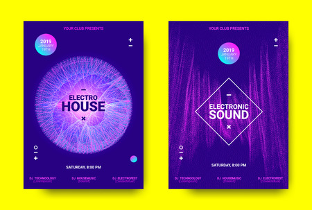 Electronic Music Poster. Sound Equalizer Vector Design. Amplitude of Wave Lines. Futuristic Flyer for Electronic Music Event with Glow Effect. Sound Movement Concept. Electronic Festival Promotion. Illustration