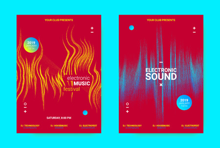 Electronic Music Banner. Techno Sound Flyer Design. Vector Equalizer Concept with Amplitude of Distorted Lines. Wave Banner for Dance Event Promotion. Abstract Vibrant Poster. Minimal Dj Party Banner. Illustration