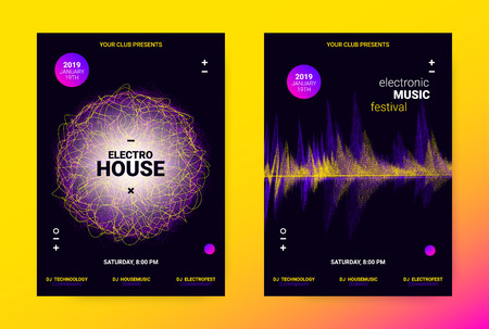 Techno Music Poster. Wave Flyer for Dance Event Promotion. Banner for Techno Sound Performance. Electronic Equalizer Concept and Amplitude of Distorted Lines. Announcement of Techno Music Night Party. Illustration