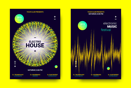 Electronic Sound Poster. Techno Music Festival Promotion. Vector Wave Amplitude Design. Wave Poster Concept with Movement. Equalizer of Distorted Lines. Abstract Sound Poster for Dj Performance.
