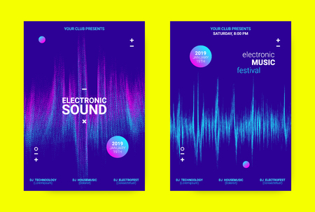 Techno Music Banner. Sound Flyer Concept. Equalizer Vector Design with Amplitude of Distorted Lines. Wave Banner in Blue Color for Electronic Dance Event. Dj Party Promotion Minimal Banner.