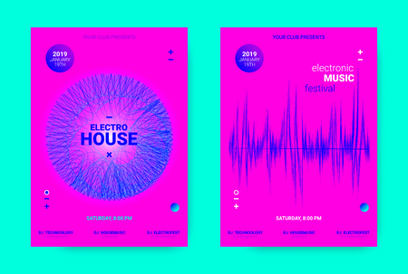 Amplitude of Waves. Electronic Music Poster Concept. Dance Event Promotion. Wave Banner for Techno Sound. Flyer with Equalizer, Distorted Waves and Dotted Lines. House Music Night Party Announcement. Illustration