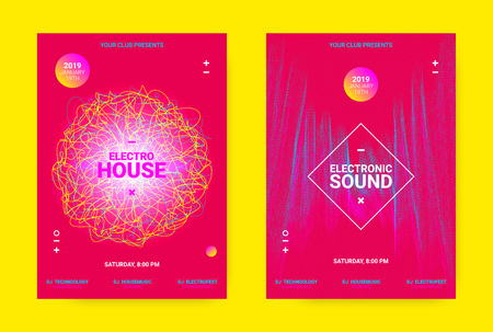 Flyer for Dance Event. Techno Sound Performance Wave Poster. Vector Music Equalizer Concept. Amplitude of Distorted Dotted Lines. Promotion of Night Event. Music Poster for Announcement of Dj Event. Illustration